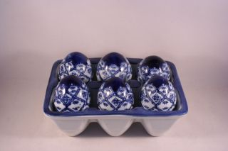 Blue White Willow Ceramic Eggs with Ceramic Crate Carton Container