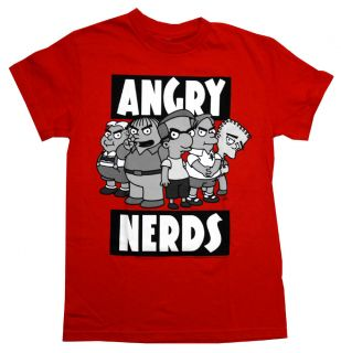 The Simpsons Angry Nerds Funny Cartoon TV Show Adult T Shirt Tee