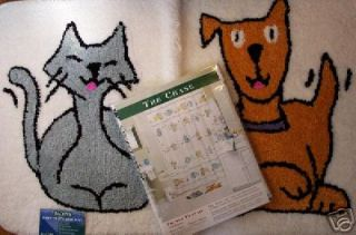 Dog Cat Chase Shower Curtain with Shower Hooks and Bath Mat Rug Set
