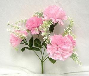 60 Pink Carnations Wedding Bridal Bouquet Silk Flowers Bush