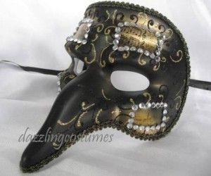 venetian music note mask casanova beak nose black gold gem antique
