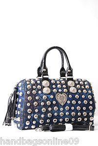 Cate Designer Inspired Heart Studded Boston Bag Large Black