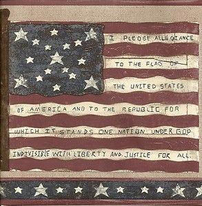 American flag Americana Carol Endres wallpaper border pledge