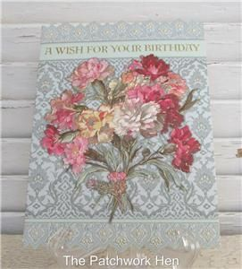 Carol Wilson Happy Birthday Card Pink Carnation Bouquet