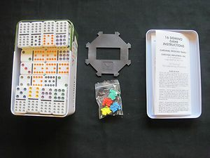 Cardinal Double Twelve Color Dot Dominoes w Mexican Train New in Box
