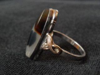 Silver Moss Agate Cabachon Caroline Ballou C C Clark Combs Ring