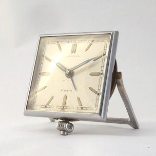 Angelus 8 Days Art Deco Silvered Alarm Clock 1930S
