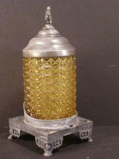 Antique Victorian Pickle Castor Holder Silver Bottle Jar Colored Glass