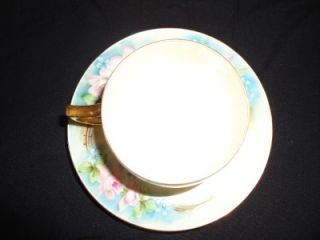Antique Eamag Bavaria Tea Cup and Saucer Pink Shabby Rose Pattern