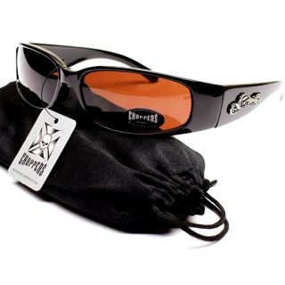 Choppers Sport Motorcycle Sunglasses Black Brown CH1003