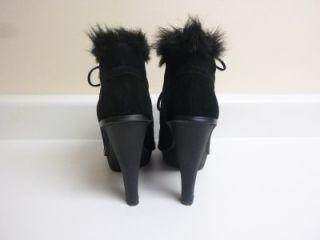 Michael Kors Carlie Faux Fur Lace Up Suede Leather Ankle Boot Black