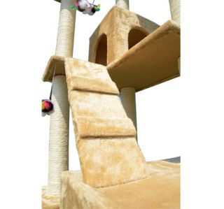 New 71 Cat Tree Condo Furniture Scratch Post Pet House Beige w Free