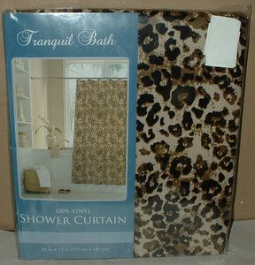 Jungle Vinyl Shower Curtain Dorm Bath Decor Safari Cat New