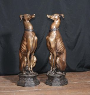 Pair Large Art Deco Bronze Greyhounds Dogs Statues Casting