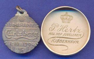 Medal 1906 Carlsberg Brewery Swastika in ORG Box K77