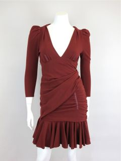 Carven at Socialite Auctions Ret $468 Rust Asymmetrical Drape Dress 11