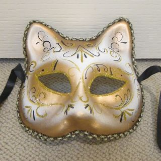 Cat Gold Circus Mardi Gras Venetian Halloween Costume Party Masquerade