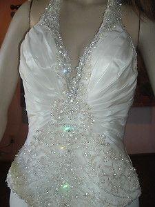 CASABLANCA HALTER WEDDING GOWN BRIDAL BRIDE DRESS IVORY CRYSTAL