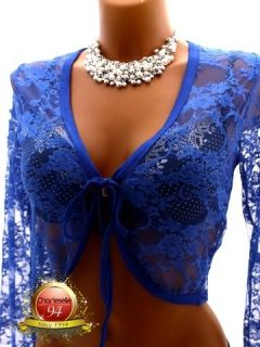 Women Catherine Black Long Sleeves Lace Shrug Bolero Crop Cardigan 8