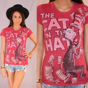 Dr Seuss Cat in The Hat Red T Shirt Short Sleeve Top M