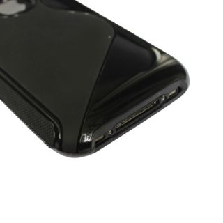 TPU Fitted Case Cover Skin for iPhone 3G 3GS in Black s Line Shape