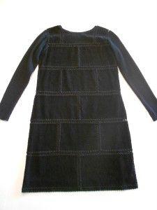 CAROLE LITTLE Black Crocheted Suede Feel Sweater Sleeve Fully Lined