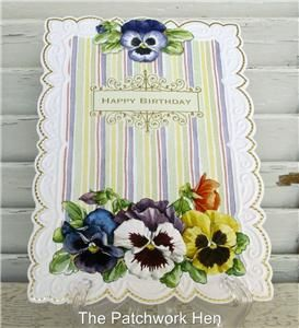 Carol Wilson Happy Birthday Card Pansies and Stripes CG1656