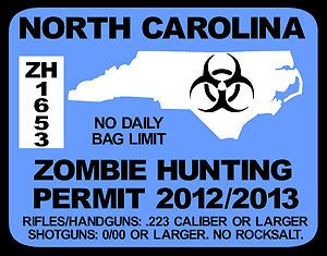 North Carolina Zombie Hunting License Permit Decal Window Sticker for