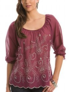 Guess Caroline Eyelet Embroidered Peasant Top Blouse Shirt Purple XS 1