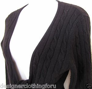 MAGASCHONI Black Cashmere Sweater Wrap Cardigan Cable Knit Medium