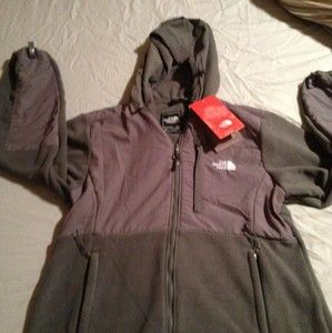 Womens North Face Fleece with Hood Gray Gray x Large