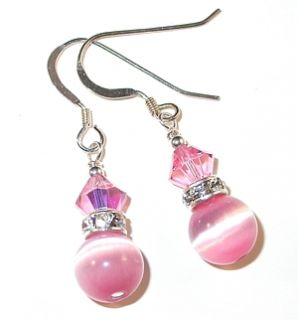 Swarovski Crystal Elements Catseye Sterling Silver Earrings Light Rose