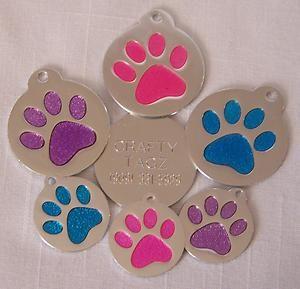 Glitter ID Tag   Dog Pet Cat CUTE Paw Print Blue/Purple/Pink