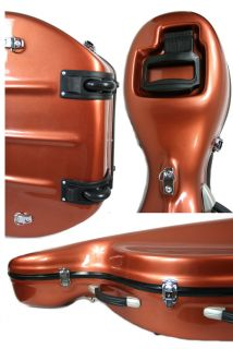 Pro Glass Fiber Hard Cello Case 4 4 Wheels Dark Orange