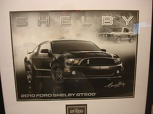 Carroll Shelby Signed Lithograph Print Autograph 2010 Black GT500