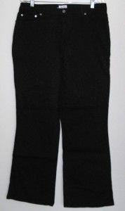 Denim & Co. Modern Waist Stretch Twill 5 Pocket Pants BLACK 16