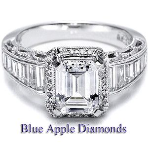 Carat Emerald Cut Center vs Diamond Certified Engagement Ring 18K