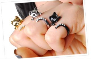 Cute Kitty Ring Animal Cat Ring Free Size Adjustable Ring Gift for Her