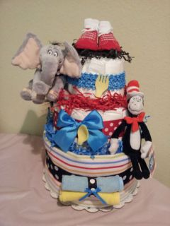 Dr seuss, CAT IN THE HAT 3 tier diaper cake, baby shower centerpiece