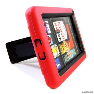 Kindle Fire New Red Hybrid Heavy Duty Kickstand Hard Soft Case