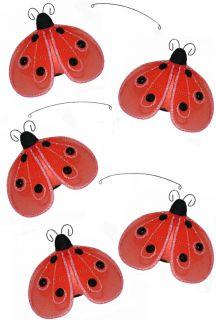5pc Ceiling Hanging Shimmer Ceiling 4 Red Ladybug Mobile Lady Bug
