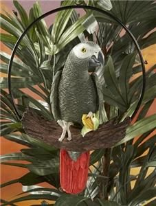 African Grey Parrot on Perch Colorful Resin Tropical Tiki Bar Beach