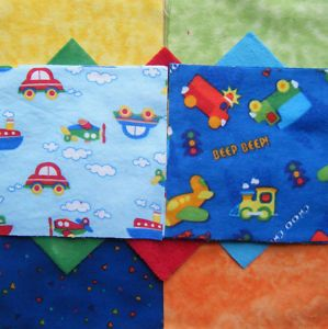 Rag Quilt Kit Chenille Minky Baby Boy Bright Cars Plane