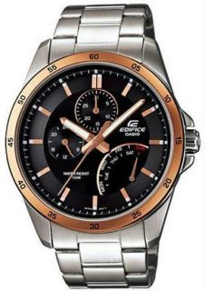 Casio Mens Edifice Stainless Steel Multi Function Analog Watch #