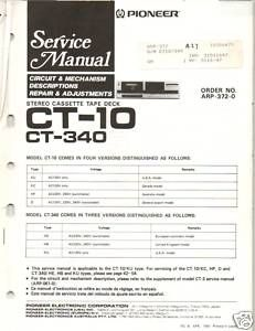Original Service Manual Pioneer Ct 10 Ct 340 Cass Deck