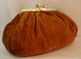 MIU MIU by Prada Handbag Purse Maxi Clutch Brown Tan Suede Clutch