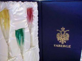 Faberge Colored Crystal Champagne Flutes in Original Presentation Box