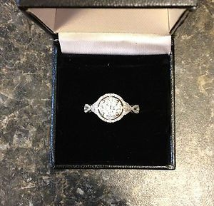 1ct Amora Moissanite Center Diamond Halo Pave Split Shank Engagement