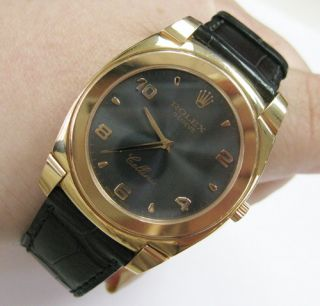 Rolex Cellini Rose Gold Gray Dial K Serial Watch