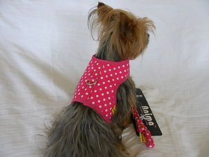 Dog Cat Clothing Apparel Harness Vest Leash New Pink Polka Dots